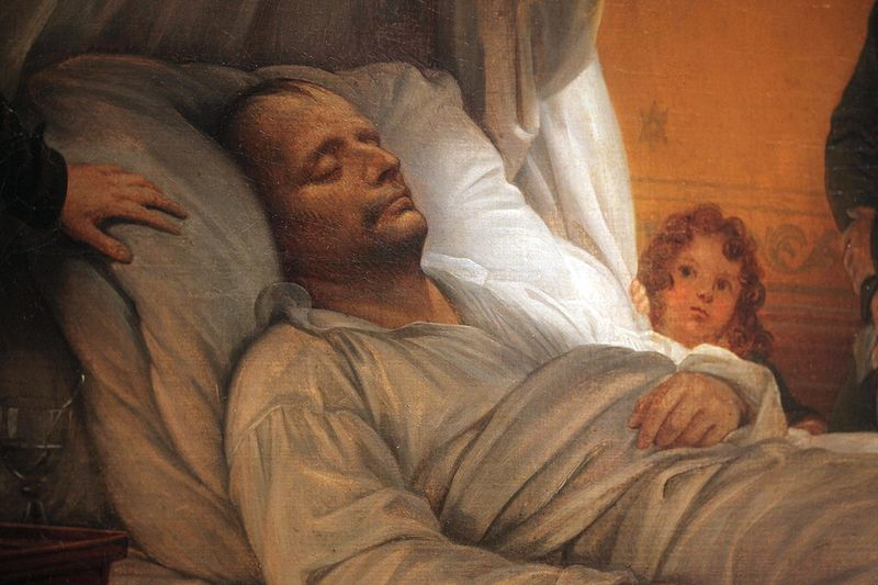 "Detail of ""The Death of Napoleon"" by Charles de Steuben. Arthur Bertrand is peeking over Napoleon's left arm."