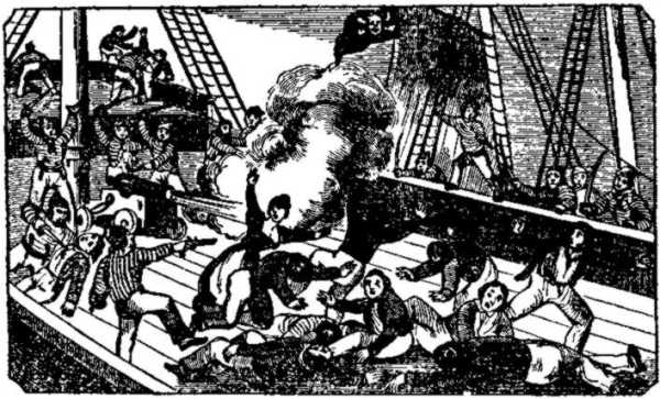 "Death of pirate Jean Laffite from ""The Pirates Own Book"" by Charles Ellms, 1837"