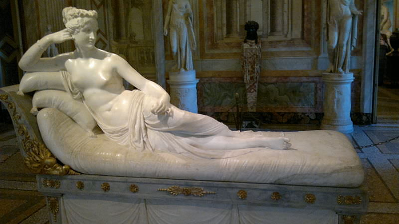 Sculpture of Pauline Bonaparte Borghese as Venus Victrix, by Antonio Canova, 1805-1808