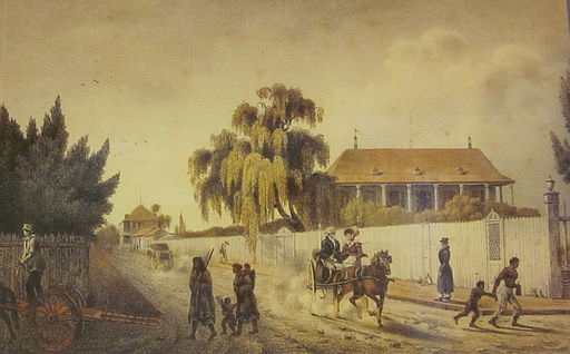 New Orleans in 1821: Street scene, Faubourg Marigny by Felix Achille Beaupoil de Saint Aulaire. The Historic New Orleans Collection, acc. no. 1937.2.2