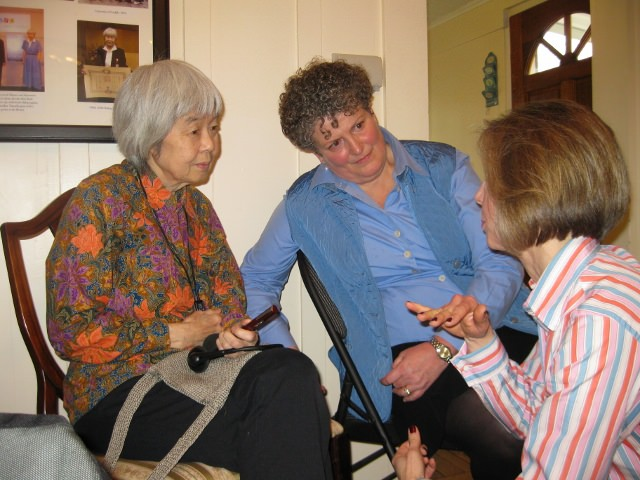Canadian writer Joy Kogawa, Historic Joy Kogawa House Society Executive Director Ann-Marie Metten, and Shannon Selin, author of Napoleon in America