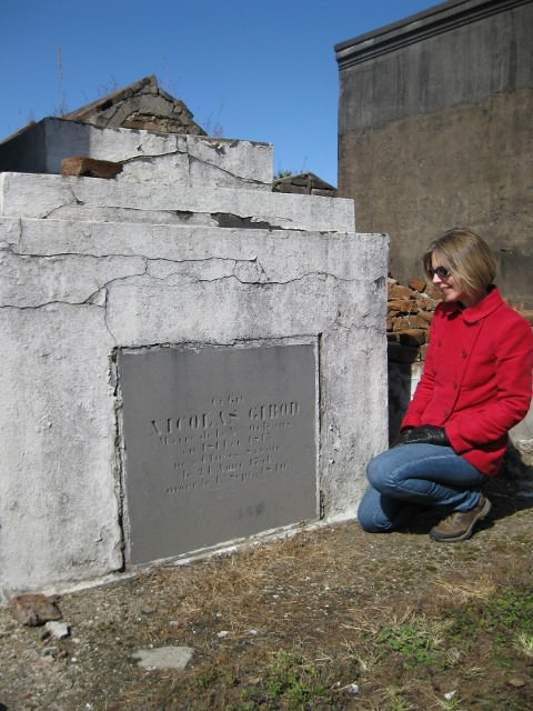 Shannon visiting the tomb of Nicolas Girod in St. Louis Cemetery No. 2, New Orleans