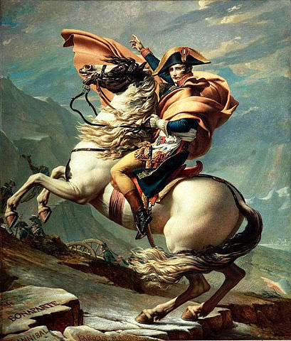 Napoleon crossing the Alps by Jacques-Louis David, 1800. This episode is often cited in self-help books.