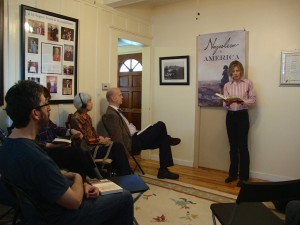 Shannon Selin reading from her novel Napoleon in America at Historic Joy Kogawa House in Vancouver, April 6, 2014