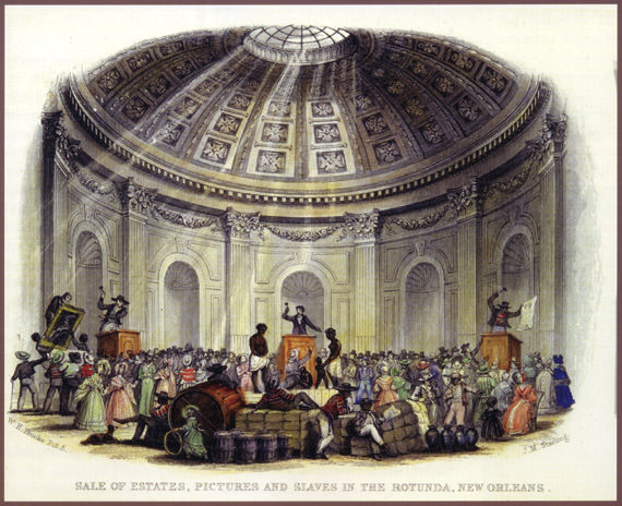 """Sale of estates, pictures and slaves in the rotunda, New Orleans."" Engraved by J.M. Starling after work by William Henry Brooke, 1842."