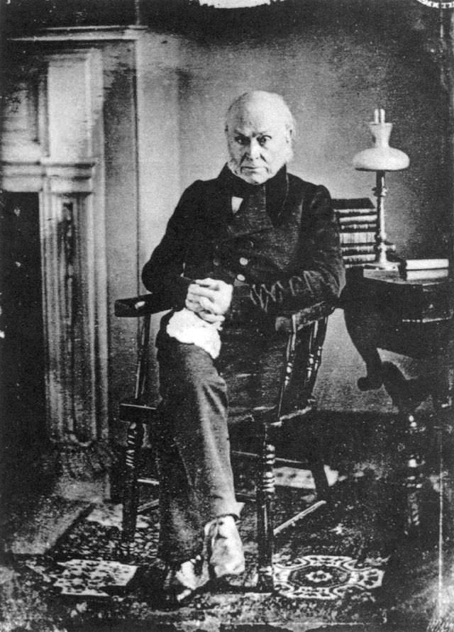 Daguerreotype of John Quincy Adams in 1843, at age 76. Adams continued swimming even past this age.