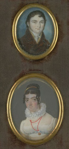 Painted miniatures of Louis Mailliard and his wife Marguerite Angelique Redet, before 1820