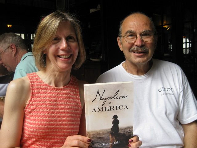 Shannon Selin with Sal Impastato, the owner of Napoleon House, and her novel, Napoleon in America, which is based on the legend behind Napoleon House.