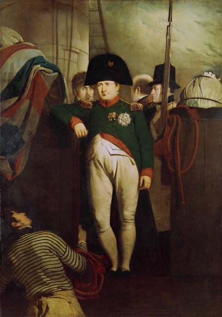 Napoleon in his chasseur uniform on board the Bellerophon in Plymouth Sound, by Sir Charles Locke Eastlake, 1815