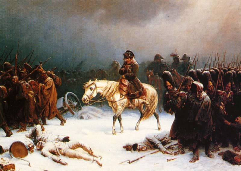 "Napoleon retreats from Moscow, by Adolf Northen. ""From the sublime to the ridiculous is but a step"" is one of the Napoleon Bonaparte quotes originating from the Russian campaign."