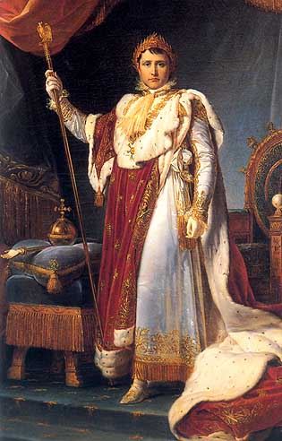 Napoleon in his imperial robes, by François Gérard, 1805. Like so many paintings of Napoleon, this is an exercise in iconography rather than realism.