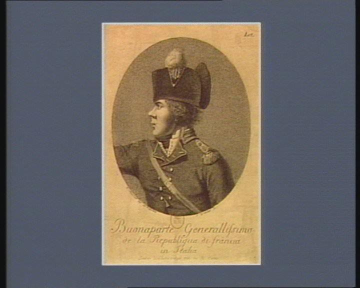 Buonaparte generalissimo de la Republiqua di Franci in Italia, September 1, 1796, by I. Marcelli (engraver S. Grobileti). Bibliothèque nationale de France