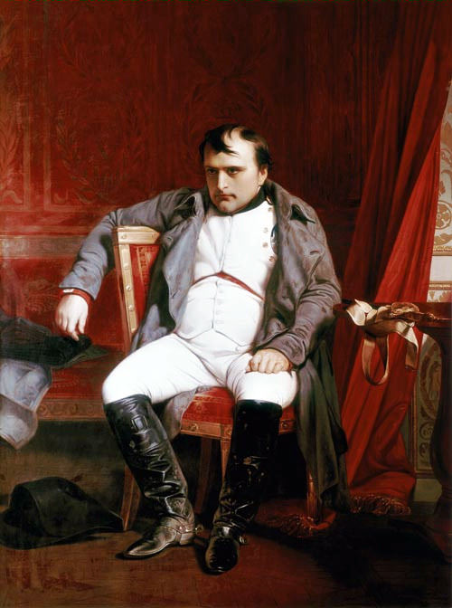 Napoleon at Fontainebleau on March 31, 1814 by Paul Delaroche, 1845. Napoleon attempted suicide when he was at Fontainebleau.