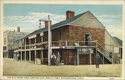 "The Old Stone Fort in Nacogdoches, Texas, from an early 20th century postcard. In ""A Question of Madness,"" alcalde James Dill deals with a strange case of murder here."