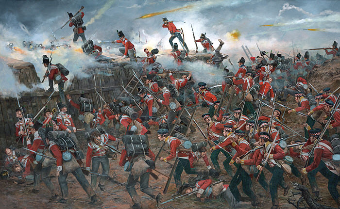 The British assault on the American position during the Battle of New Orleans in January 1815