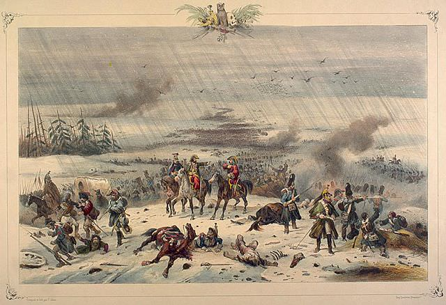 The retreat of Napoleon from Russia by Victor Adam. What if Napoleon had defeated the Russians?