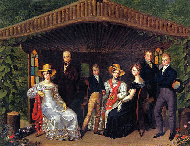 Kaiserhaus by Leopold Fertbauer, 1826. From left to right: Empress Caroline Augusta; Emperor Francis I; Napoleon II of France, Duke of Reichstadt; Princess Sophie of Bavaria; Marie Louise, Duchess of Parma; Archduke Ferdinand; and Archduke Franz Karl.