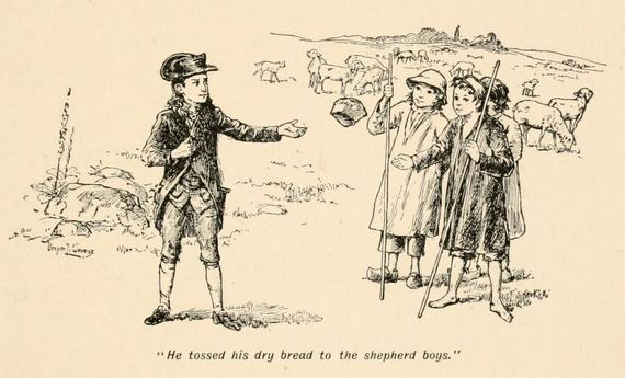 "Illustration by Vesper L. George from The Boy Life of Napoleon (1895): ""He tossed his dry bread to the shepherd boys."""