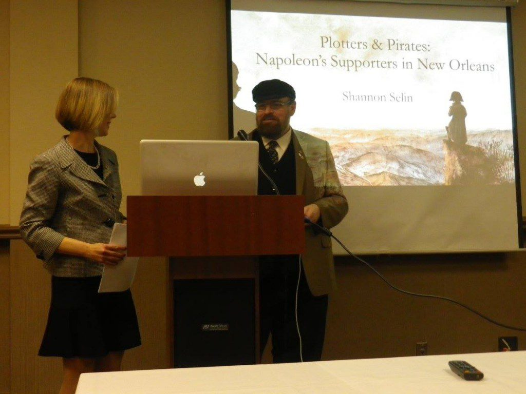 Shannon Selin and Todd Fisher, Executive Director of the Napoleonic Historical Society, at the 2014 NHS conference in New Orleans
