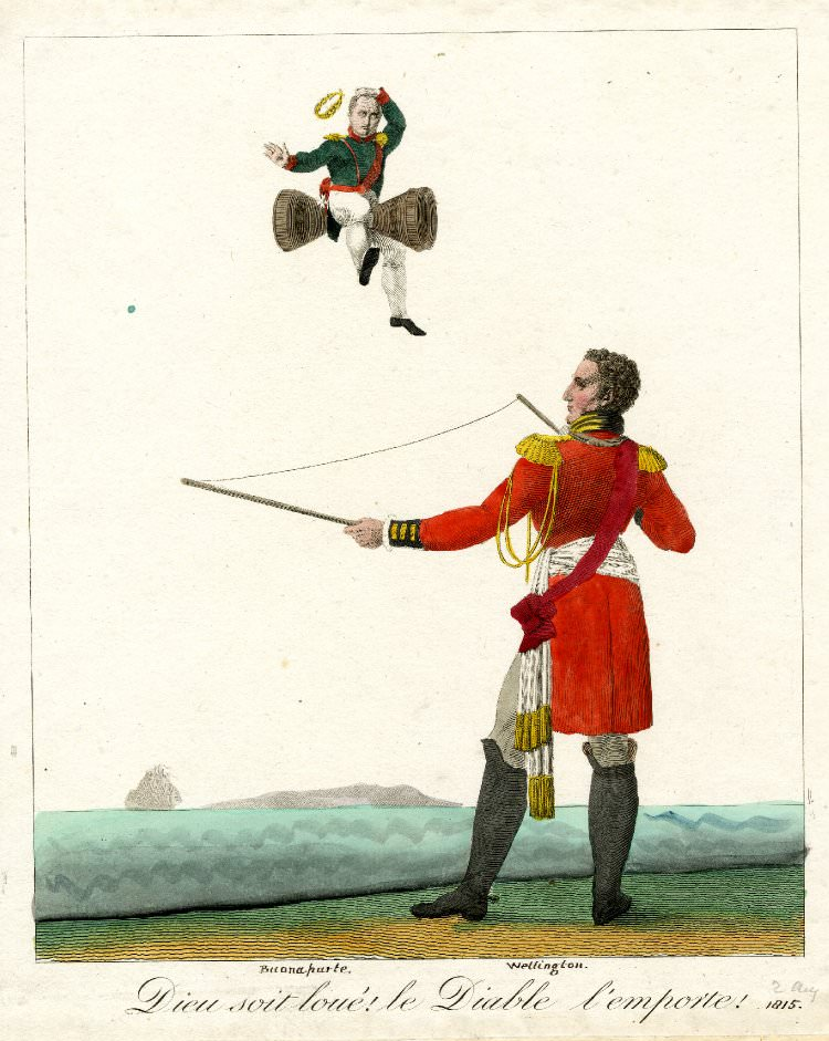 """God be praised! The devil takes him!"" The Duke of Wellington, playing with a pair of diavolo sticks, tosses Napoleon into the air, 1815. © The Trustees of the British Museum. French Canadians were firm supporters of Britain during the Napoleonic Wars."