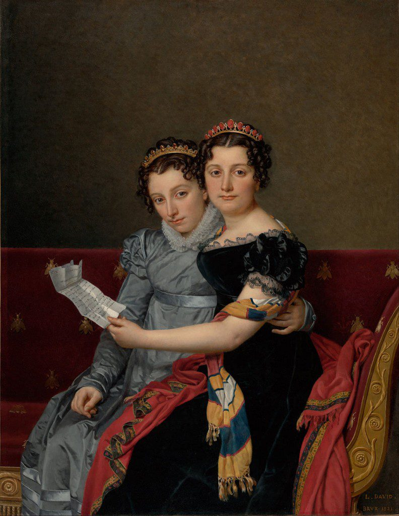 The Sisters Zénaïde and Charlotte Bonaparte by Jacques-Louis David, 1821. Charlotte is on the left, behind Zénaïde. Painted in Brussels, the sisters are reading a letter from their father Joseph, who is in America.