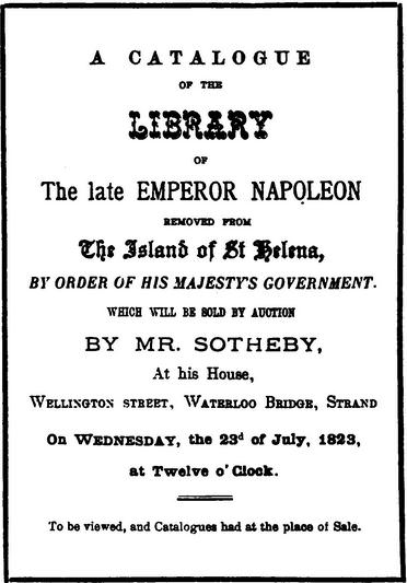 Napoleon book auction, 1823