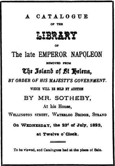 Napoleon book auction, 1823