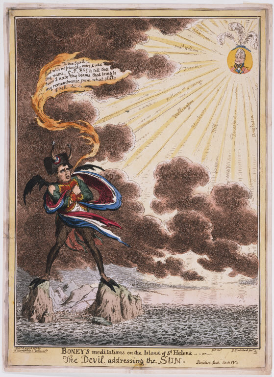Boney's meditations on the Island of St. Helena – or – The Devil addressing the Sun, by George Cruikshank, 1815
