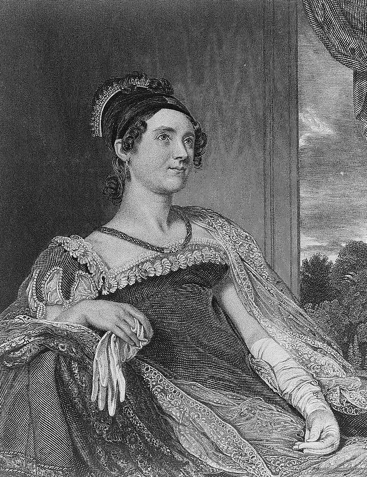 First Lady Louisa Adams, engraving by G. F. Storm of a painting by Charles Robert Leslie