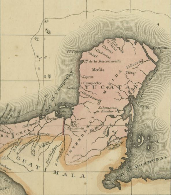 "1822 map of the Yucatán peninsula in Mexico. Isla Mujeres (not shown) is near ""Cankum I."" in the upper right-hand corner. Dzilam de Bravo appears as V. de Silan, east of Santa Clara (S. Clara)."