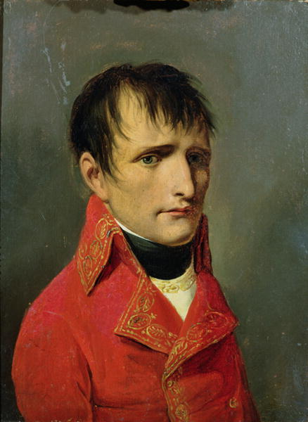 One might even credit First Consul Napoleon Bonaparte with coiffure à la Titus (without the curls) in this portrait by Louis Léopold Boilly