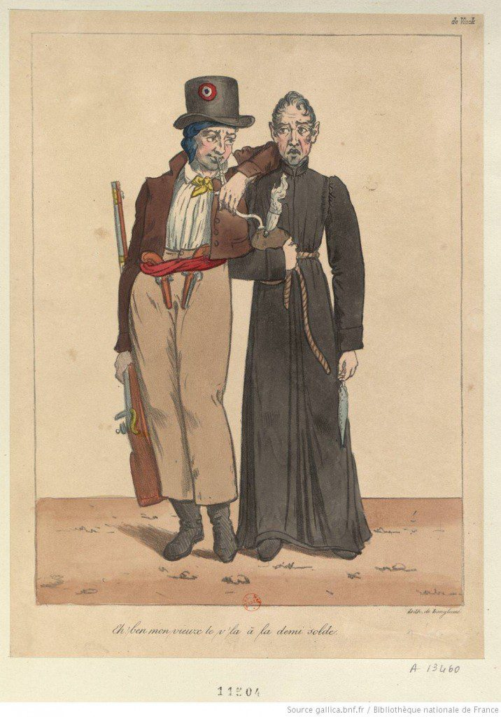 """Well, my old friend, here you are on half-pay,"" quips a well-armed rioter of the July 1830 Revolution to Charles X, depicted in monk's garb and carrying meagre provisions. Source: gallica/bnf.fr / Bibliothèque nationale de France"