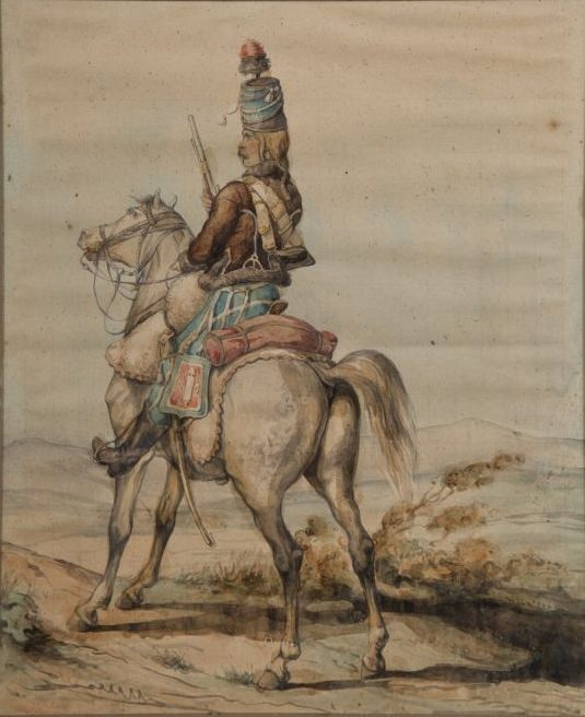 Hussard de Chamboran by Henri Félix Philippoteaux. Pierre Viriot joined the Chamboran hussars in 1791.