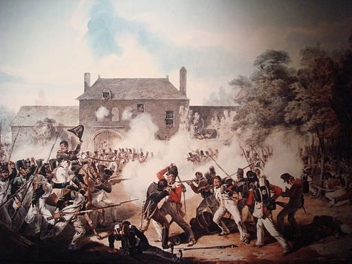 Fighting at Hougoumont during the Battle of Waterloo. Newfoundlander Job Gibbs was among the Coldstream Guards defending the farm.