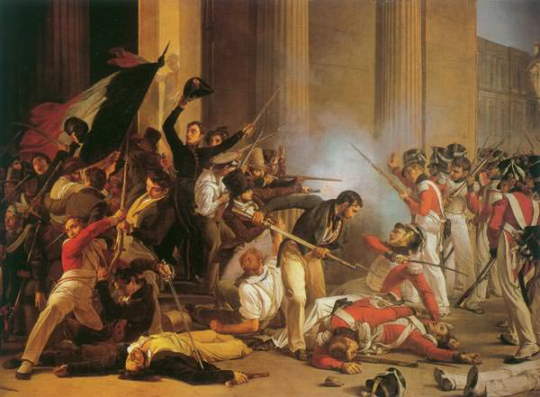 The Taking of the Louvre on July 29, 1830 by Jean-Louis Bezard. Louis-Joseph Oudart was among the insurgents.