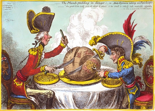 "What Napoleon's opponents thought he liked to eat. ""The Plumb-pudding in danger, or, State epicures taking un petit souper ...,"" an 1805 caricature by James Gillray showing Napoleon and British prime minister William Pitt carving up the globe."