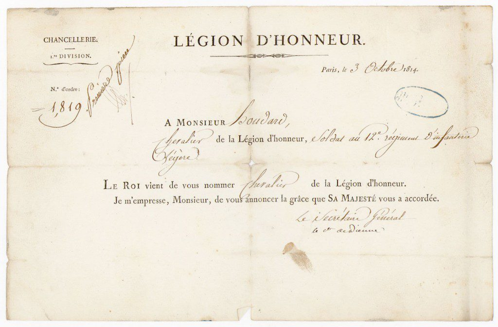 Louis-Joseph Oudart's appointment to the Legion of Honour