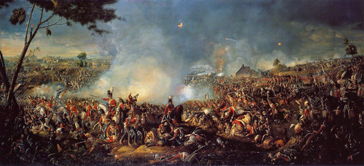 The Battle of Waterloo by William Sadler II. Captain Alexander Macnab, who was killed at Waterloo, was one of the Canadians in the battle.