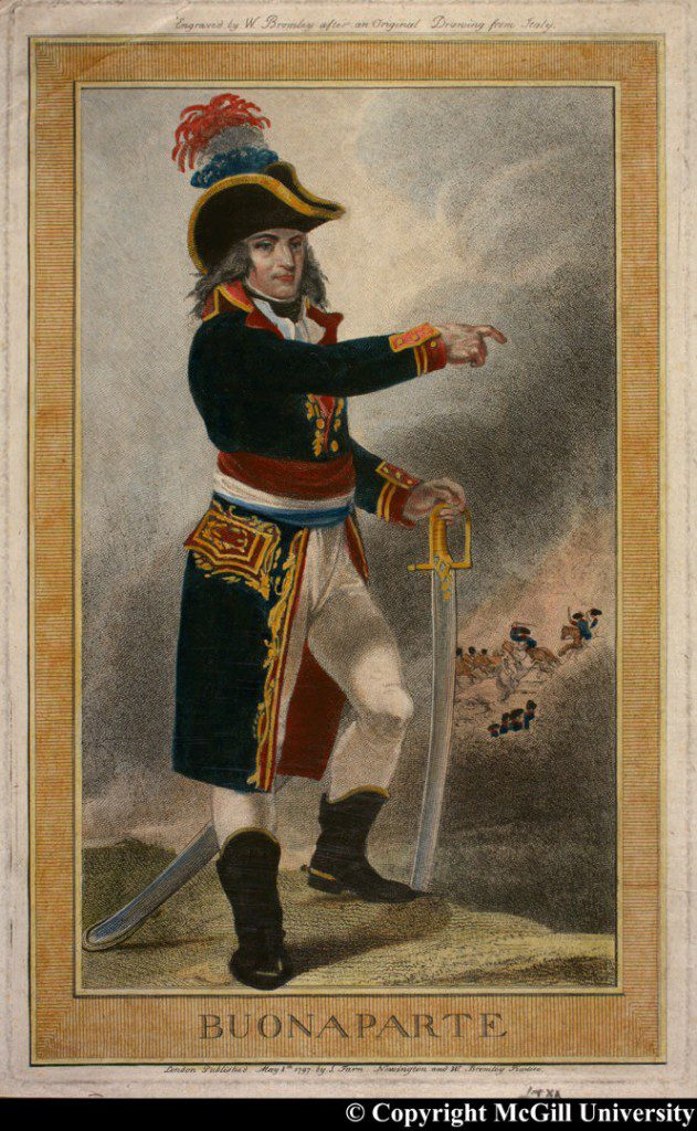 Buonaparte engraved by W. Bromley after an original drawing from Italy, 1797, copyright McGill University