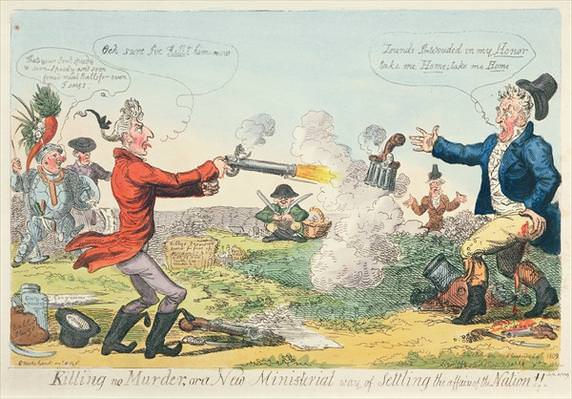 Killing no Murder, or a New Ministerial way of settling the affairs of the Nation! Caricature by Isaac Cruikshank of the 1809 duel between Lord Castlereagh (left) and George Canning (right).