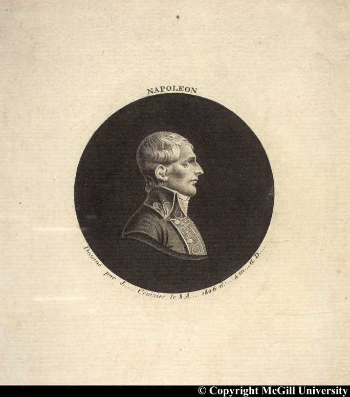 Napoleon in profile by Croizier, 1806, copyright McGill University