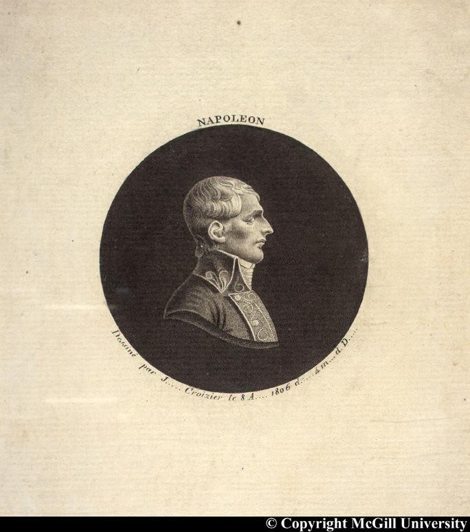 Napoleon in profile by Croizier, 1806, copyright McGill University