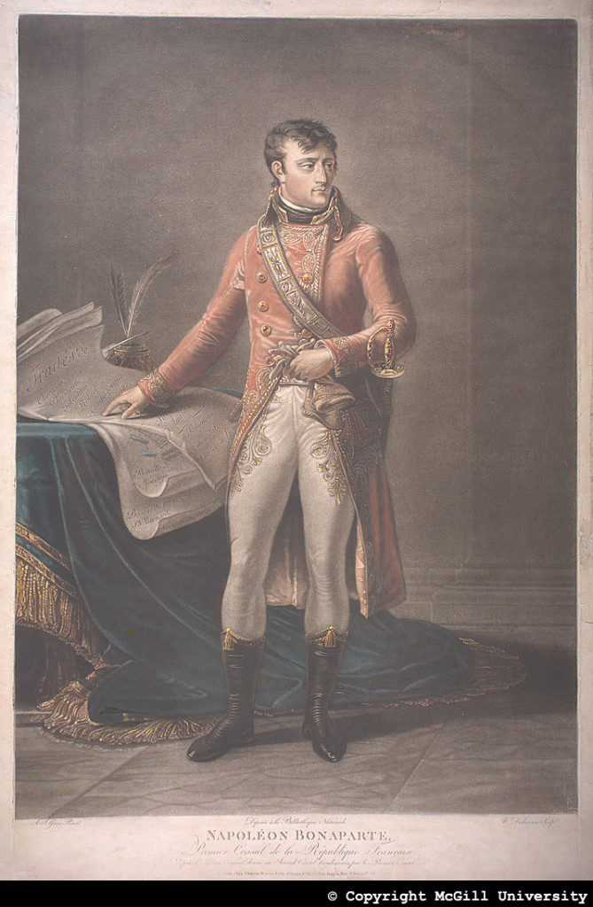 Napoleon Bonaparte, First Consul of the French Republic, by A.J. Gros Pinxt/W. Dickinson based on the portrait by Gros, copyright McGill University