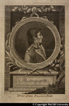 Napoleon Bonaparte in profile, wearing his general's uniform, by Francisco Prato, copyright McGill University
