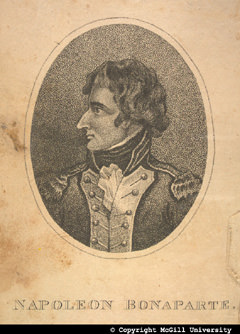 Napoleon Bonaparte, from a frontispiece, copyright McGill University