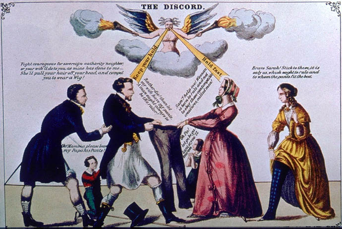 """The Discord,"" 1865. A marriage dispute over who wears the pants."