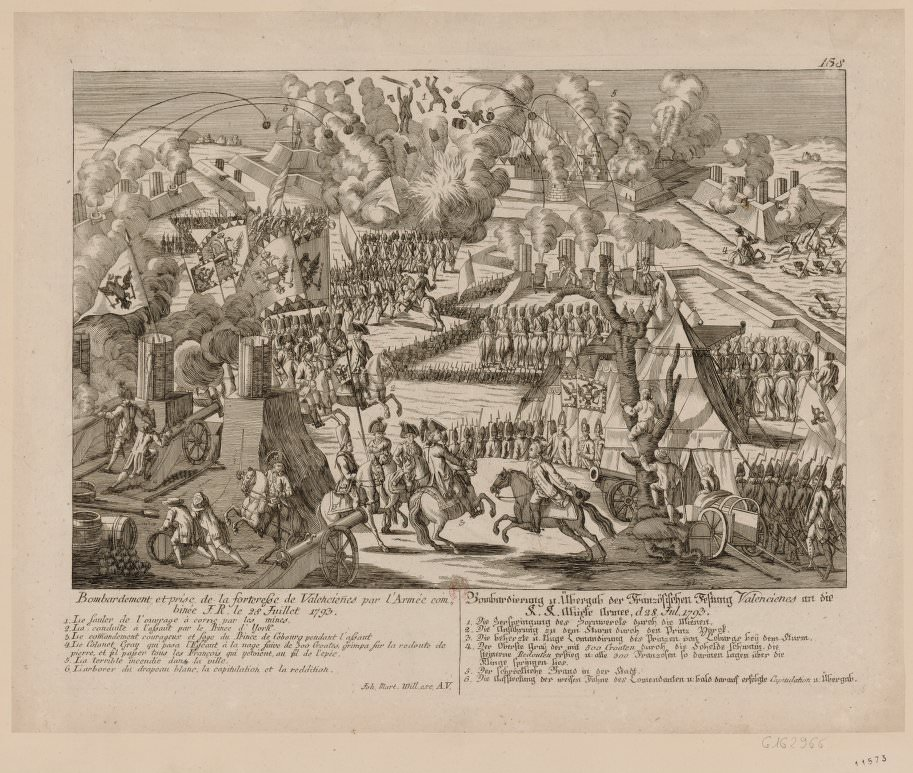 Bombardment and taking of Valenciennes, July 28, 1793. Arnaud Texier de la Pommeraye fought in the battle (which the French lost) and wrote a book about it.