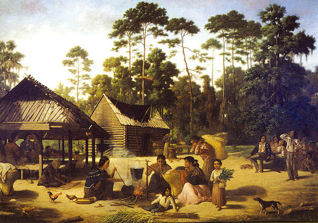 Choctaw village in Louisiana, by François Bernard