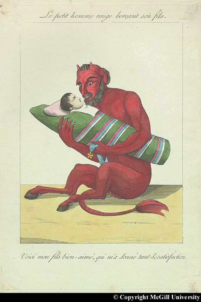 """The little red man rocking his son. Here is my darling son who has given me so much satisfaction."" French caricature mocking Napoleon's supposed superstition about the Red Man. Copyright McGill University."