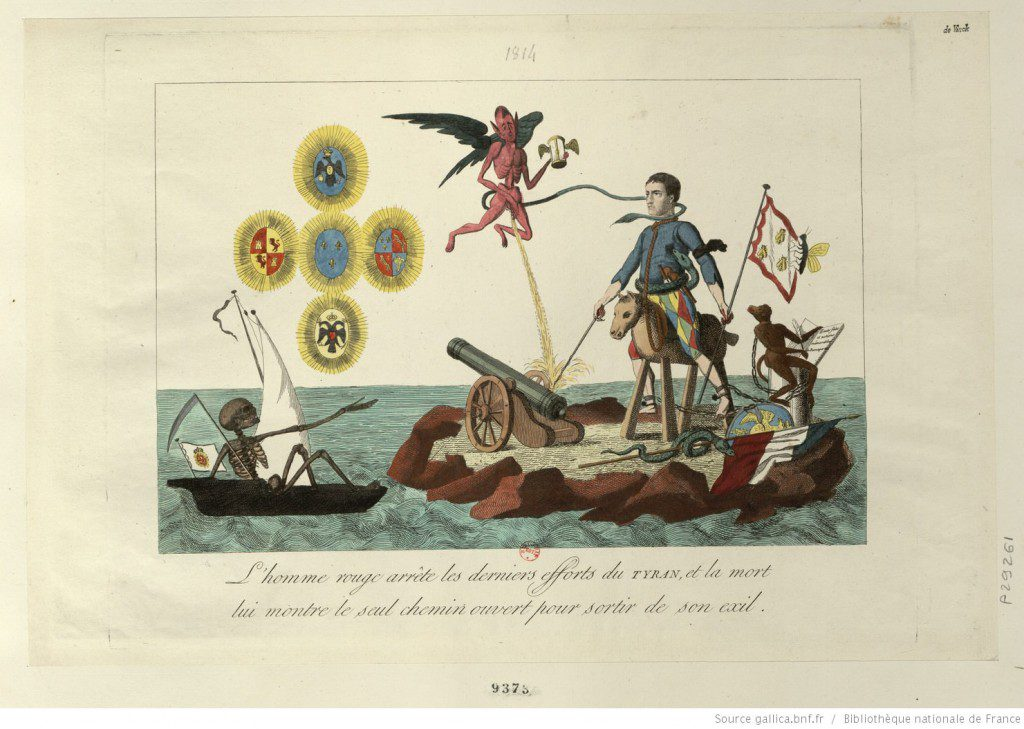 """""""The Red Man stops the last efforts of the tyrant, death offering the only means of escape from his exile."""" French caricature from 1815-1816. Source: Gallica - Bibliothèque nationale de France."""